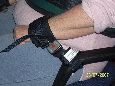 Restraint cuff in use with extension strap.